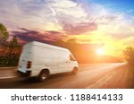 big white van in motion on the... | Shutterstock . vector #1188414133