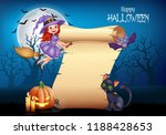 cartoon little witch flying on... | Shutterstock . vector #1188428653