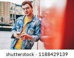 portrait of caucasian hipster... | Shutterstock . vector #1188429139