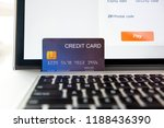 credit card on laptop computer... | Shutterstock . vector #1188436390