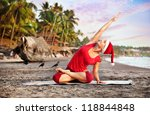 Yoga By Young Woman In Red...