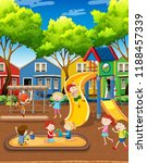 kids playing on playground... | Shutterstock .eps vector #1188457339