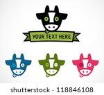 colorful cows editable icon set