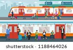 set of people in train station. ... | Shutterstock .eps vector #1188464026