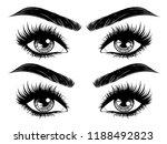 female eyes with long black...   Shutterstock .eps vector #1188492823