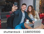 couple sitting in cafe. man... | Shutterstock . vector #1188505000