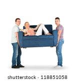 two men carrying a couch with a ... | Shutterstock . vector #118851058