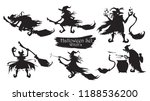 spooky witch with brooms and... | Shutterstock .eps vector #1188536200
