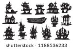spooky castle silhouette... | Shutterstock .eps vector #1188536233