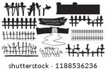 spooky cemetery gate silhouette ... | Shutterstock .eps vector #1188536236