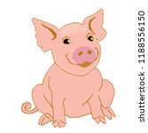 piglet pink painted in squares  ... | Shutterstock .eps vector #1188556150