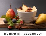 poached pear with syrup and... | Shutterstock . vector #1188586339