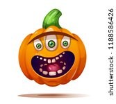 cute  funny  crazy pumpkin... | Shutterstock .eps vector #1188586426