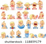 Stock vector vector illustration of baby boys and baby girls 118859179