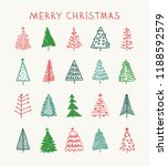 hand drawn set of christmas... | Shutterstock .eps vector #1188592579