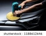 Car detailing series: Polishing gray car - stock photo