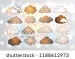 set of doodle sketch clouds on... | Shutterstock .eps vector #1188612973