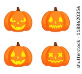 set of pumpkins with funny... | Shutterstock .eps vector #1188620356
