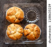 fresh blueberry muffins on a... | Shutterstock . vector #1188635239