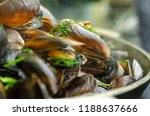 mussels in white bouzar sauce.... | Shutterstock . vector #1188637666