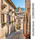 Small photo of Scenic sight in Spello, flowery and picturesque village in Umbria, province of Perugia, Italy.