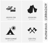 set of 4 editable trip icons....