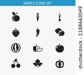 set of 12 editable vegetable... | Shutterstock . vector #1188663049