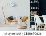 wooden lamp next to mustard...   Shutterstock . vector #1188670636
