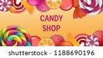 sweet candy shop concept banner.... | Shutterstock . vector #1188690196