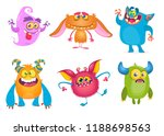 cute cartoon monsters. set of... | Shutterstock . vector #1188698563
