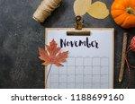 calendar november 2017 on... | Shutterstock . vector #1188699160