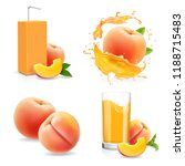 peach juice collection. fresh... | Shutterstock .eps vector #1188715483