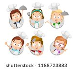 funny kids in white chef hats... | Shutterstock .eps vector #1188723883