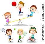 summertime activity at kids... | Shutterstock .eps vector #1188723886