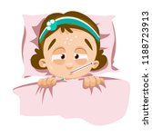 sick girl lying in bed with... | Shutterstock .eps vector #1188723913