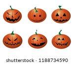 set of halloween funny pumpkins ...   Shutterstock .eps vector #1188734590