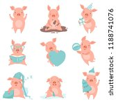 cute cheerful little pink pigs... | Shutterstock .eps vector #1188741076