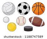 vector cartoon sports balls set
