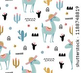seamless pattern with alpaca in ... | Shutterstock .eps vector #1188748819