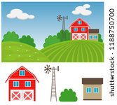 farm on the hill. vector... | Shutterstock .eps vector #1188750700