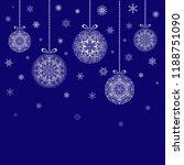 christmas balls hanging on blue ... | Shutterstock .eps vector #1188751090