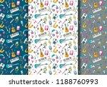music art seamless pattern set. ... | Shutterstock .eps vector #1188760993