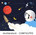 flight to mars. illustration in ... | Shutterstock . vector #1188761593