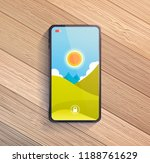 smart phone on wooden table. | Shutterstock . vector #1188761629