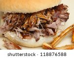 Hog roast roll with crackling - stock photo