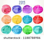 year 2019 vector monthly... | Shutterstock .eps vector #1188788986