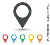 map pin icon set flat design | Shutterstock .eps vector #1188797980