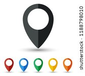 map pin icon set flat design | Shutterstock .eps vector #1188798010