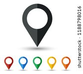 map pin icon set flat design | Shutterstock .eps vector #1188798016