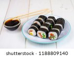 rolls with salmon  plate on... | Shutterstock . vector #1188809140